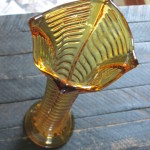 Unknown Amber RIbbed Vase