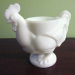 Imperial Glass Milkglass Rooster Egg cup
