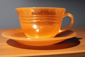 Fire King Cup and Saucer - Peach Lustre (2)