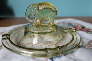 Greensburgh GLass Yellow Ashtray (3)
